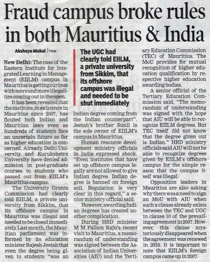 Fraud Campus Broke Rules in Both Mauritius & India
